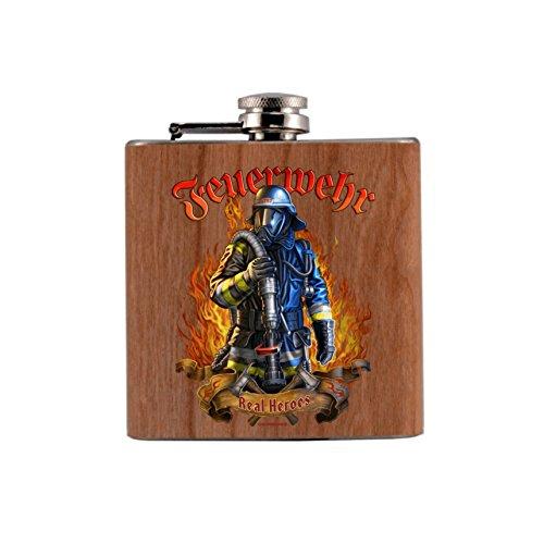 chmann Taschenflasche bedruckt anstelle Gravur - Holz Flachmann - Flachmann mit Echtholzfurnier ummantelt - Der Flachmann für den aktiven und begeisterten Feuerwehrmann mit hochwertigem Aufdruck