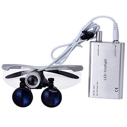 Magnifier Occhialini Binoculari Medico-Chirurgici Portatili da Vista in Vetro Ottico 3.5x420mm con Lampada Frontale A LED Fauay