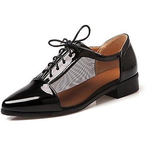 Scarpe donna Chunky tallone punta Oxfords scarpe con Pizzo-up vestito