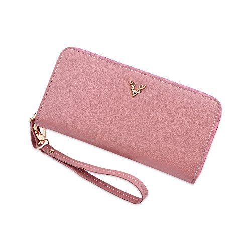 Litchi Grain Long Large Wallet Purses per donna Clutch Handbags con cinturino da polso Rosa