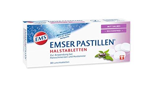 Halsschmerzen Schleim (Emser Pastillen Halstabletten mit Salbei, zuckerfrei - Bei Halsschmerzen, Husten und starker Stimmbelastung - 30 Stück  )