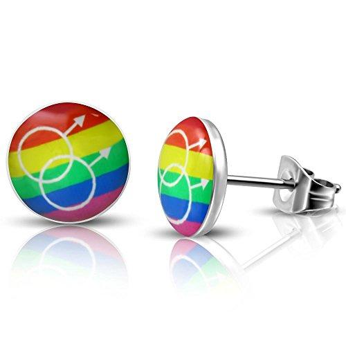 Bungsa Ohrstecker REGENBOGEN Herren bunt - Ohrringe mit REGENBOGEN & Männlichkeits Symbol - nickelfreier EDELSTAHL Ohrschmuck für Männer - tolle bunte Gender Earstuds mit Regenbogen