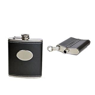all-around24® Flachmann aus Edelstahl Taschenflachmann Taschenflasche (ca.199ml, Schwarz)