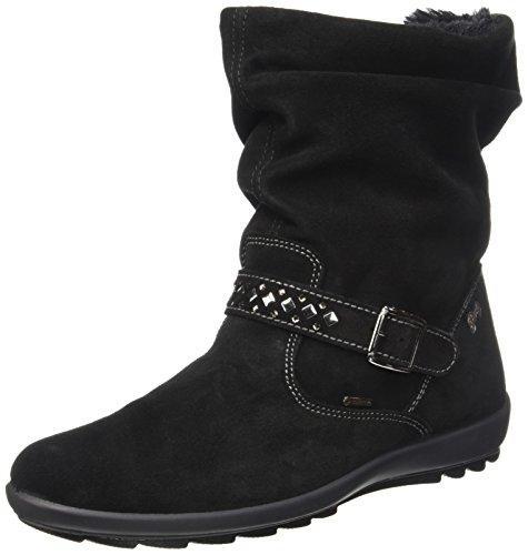PrimigiGlossy - Stivali a metà gamba con imbottitura pesante  Bambina , nero (Nero (Nero)), 33 EU