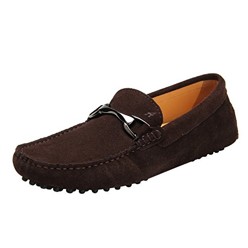 Shenduo - Mocassins pour homme cuir - Loafers confort - Chaussures de ville D7162 Café