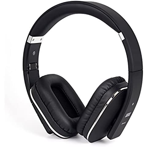 August EP650B Auriculares Bluetooth NFC Inalámbricos, micrófono integrado, batería interna recargable y cómodas almohadillas de cuero, conexión 3.5 mm y Micro USB, para Smartphones, iPhones, iPads, ordenadores y tabletas,