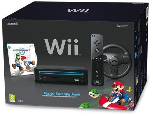 Nintendo Wii Hw Negra + Wii Mario Kart + Wii Volante