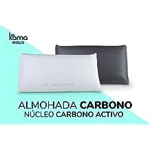 KAMA HAUS Almohada viscoelástica Carbono Activo 75cm | Núcleo indeformable | Hilo de plata | Microperforada | Antiestrés | Funda con 2 caras invierno/verano |