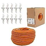 100m PremiumX CAT 7 Verlegekabel Netzwerk Kabel Datenkabel bis zu 10 Gigabit Ethernet 10x RJ 45 Netzwerk Stecker Toolless Plug