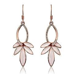 Idea Regalo - Fjyouria, orecchini pendenti a forma di foglia, placcati oro rosa, con strass e gancio