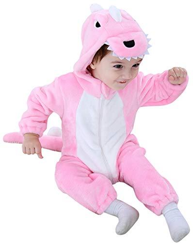 Katara 1778 Dino-Saurier Baby-Kostüm Karneval, kuscheliger Jumpsuit, verschiedene Tiere & Größen, Pyjama-Qualität, rosa (Rosa Dinosaurier Kostüm)