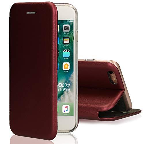 [kompatibel für iPhone 5 / 5s / SE] Flip-Case Hülle [Deluxe Leder Case] Handyhülle mit Magnetverschluss und Standfunktion Cover Rot