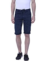 BEEVEE Mens Navy Blue Printed Three-fourth Length Shorts, Knits Stretchable Fabric,waistband With Drawstring,has...