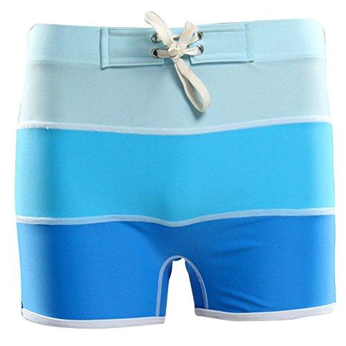 Moollyfox Uomo Piatto di Elegante Angolo Nuoto Trunks Lago Blu
