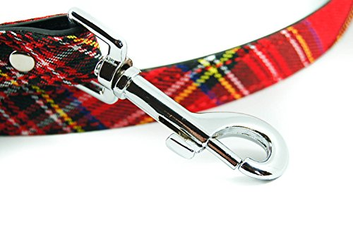 SALE-Pet-Palace-Tartan-Plaid-fabric-Dog-Lead-for-dogs-proud-of-their-heritage-RED