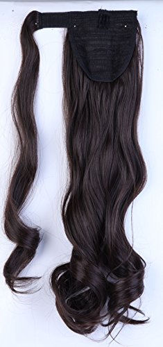 S-noilite Clip in Hair Extensions Haarteil Hairpiece Zopf Pferdeschwanz Haarverlängerung 60cm gewellt - Dunkelbraun (Lila Clip In Hair Extensions)