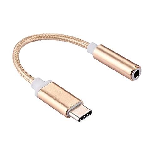 USB C à l'adaptateur audio auxiliaire féminin, Fone-Stuff® - convertisseur de câble pour écouteurs câble tissé pour nokia moto z voiture et plus - or 10cm
