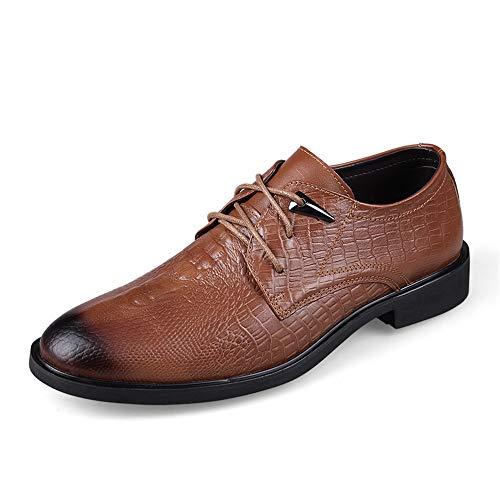 Jingkeke Männer echtes Leder Business Oxfords Classic Crocodile Texture Round Toe Formal Dress Schuhe auffällig (Color : Light Brown, Größe : 37 EU)