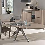 M-128 Tisch, ausziehbar, modern, Farbe Holz und Taupe
