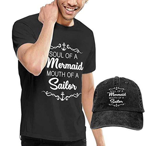 Henrnt T-Shirts Herren, Soul of Mermaid Mouth of Sailor? Shirts Short Sleeve Denim Hats