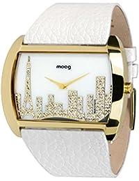 Moog Paris Skyline Reloj para Mujer con Esfera Blanca, Correa Blanca de Piel Genuina y Cristales Swarovski - M41882-101