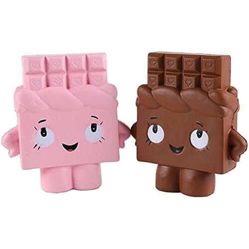 juguetes kawaii Kfnire Juguete de chocolate blando blando perfumado kawaii de aumento lento para niños o alivio de estrés (2pz/ café+rosa)