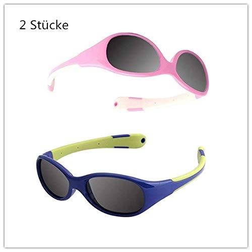 Jiaxingo Kids Sports Style Polarisierte Sonnenbrille Flexibler Rahmen für Jungen und Mädchen im Alter von 3-10 (Rosa + Blau)