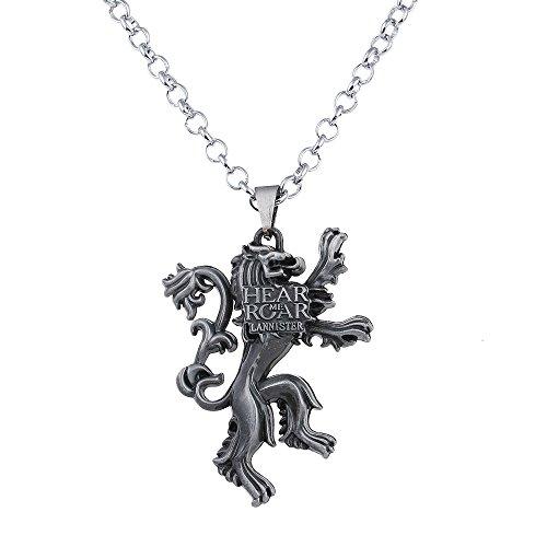 Lureme Spiel der Throne Lannister Anhänger Haus des Löwen Halskette-Antique Silber (nl005384-2)