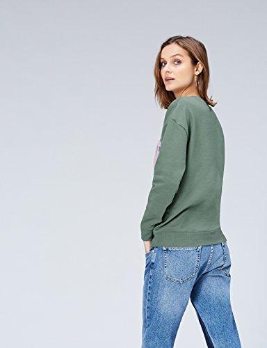 FIND Sweat-Shirt Applique Liberté Femme Vert (Khaki)