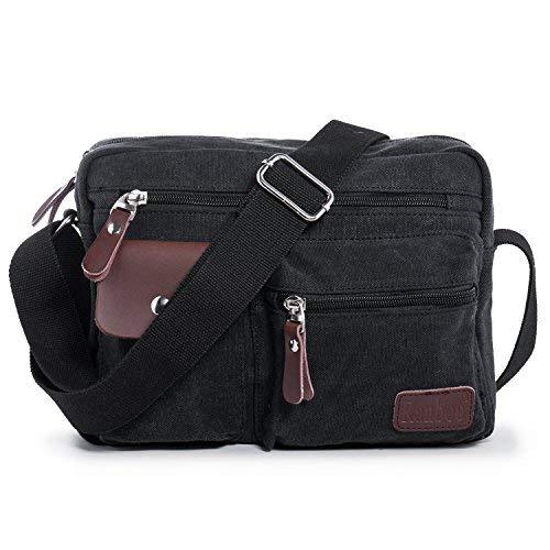 Hengwin Leinwand Männer Schultertasche Umhängetaschen Stoff Retro Herren Tasche Handtasche mit Vielen Fächern für Reisen Arbeit Urlaub Uni Schule (Schwarz)