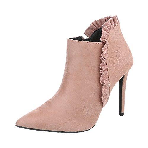 Ital-Design Ankle Boots Damen-Schuhe Ankle Boots Pfennig-/Stilettoabsatz High Heels Reißverschluss Stiefeletten Altrosa, Gr 38, C71- (Heel Ankle Boots)