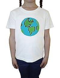 Tierra Blanco Algodón Niña Niños Camiseta Manga Corta Cuello Redondo Mangas White Girls Kids T-shirt