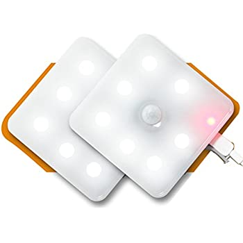 Motion Sensor Light, Mostfeel 2 Pack USB Rechargeable LED Night Light in Warm Light, DIY Wall ...