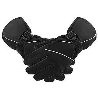 AIRGINE Outdoor-Sport Winterhandschuhe warme Handschuhe mit wasserdicht und schneesicher zum Skifahren Radfahren Klettern Schwarz