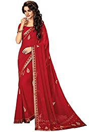 Shangrila Women's Red Color Georgette Printed & Zari Butta - Lace Saree
