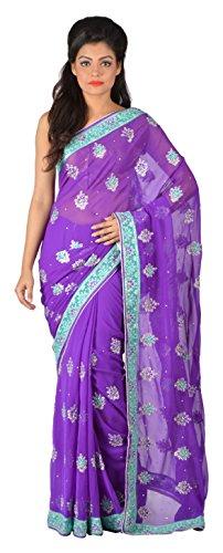 Gratitude Women's Viscose Saree (Purple)