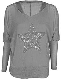 Mevina Damen 2 in 1 Langarmshirt + Tank Top mit Pailletten Stern viele Farben