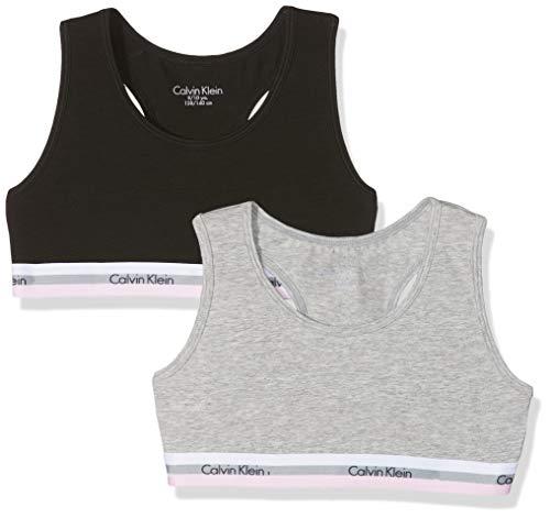 Calvin Klein 2pk Bralette, Corsetto Bambina, Nero (1 Grey Heather/ 1 Black 090), 152 (Taglia Produttore: 10-12)(Pacco da 2)