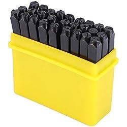 Juego de punzones de acero al carbono con letras del alfabeto y números, para estampación en metal de manualidades, con funda