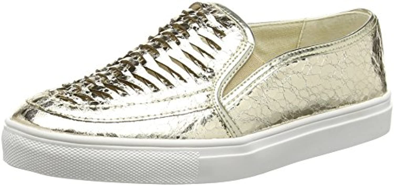 La Strada Gold Cracked Leather Look Slip-on - Alpargatas Mujer