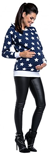 Zeta Ville - Umstandskleidung Damen Still-Sweatshirt Kapuze Sterne Design - 710c Marine
