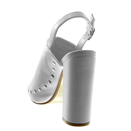 Angkorly Scarpe Moda Sandali Mules con Cinturino Alla Caviglia Open-Back Peep-Toe Donna Borchiati Fiori Ricamo Tacco a Blocco Alto 12.5 cm Bianco