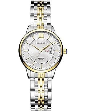 Quarz Gold Fall beiläufige Uhr weißes Zifferblatt Metall Paar klassische Geschäft mit Wochentag und Datum der...