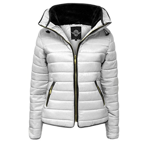 H&F Girls-Frauen-Dame-Qualitäts Zara gesteppte Blase Puffer Padded Plain Voll Langarm-Zip Up Hüftlänge Winter-Reißverschluss Hoch-Pelz-Innenkragen-Mantel-Jacke Größe 36 38 40 42 -