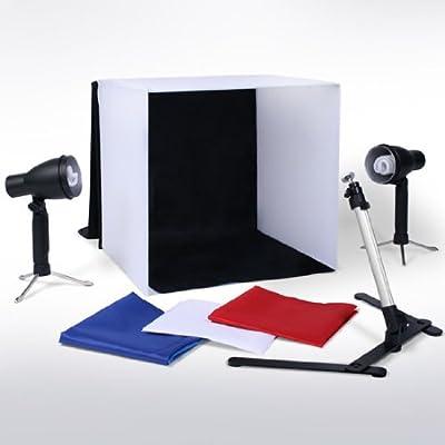 Faltbares Und Super Praktisches 60x60x60cm Fotozelt Fotostudio Inklusive 2 Lichtern Und 4 Hintergrndenschwarz Wei Blaurot Und Einem Kamerastnder Von E-port24 von e-port24