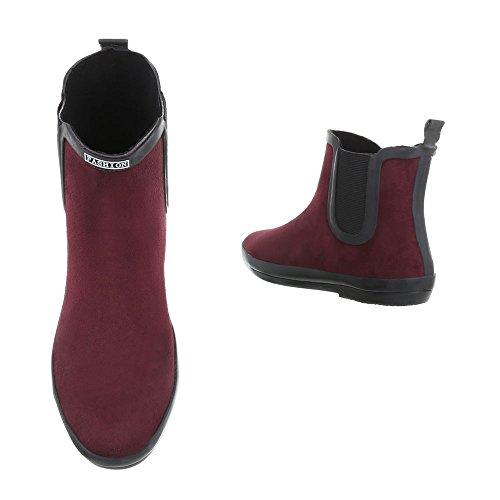 Ital-design Comfort Ankle Boots Gomma Scarpe Da Donna Antiscivolo Stivaletti Rosso Vino