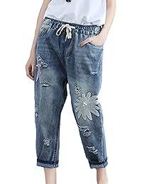 c084a6456e3 XRFC-ZM Bordado agujero roto Jeans flor