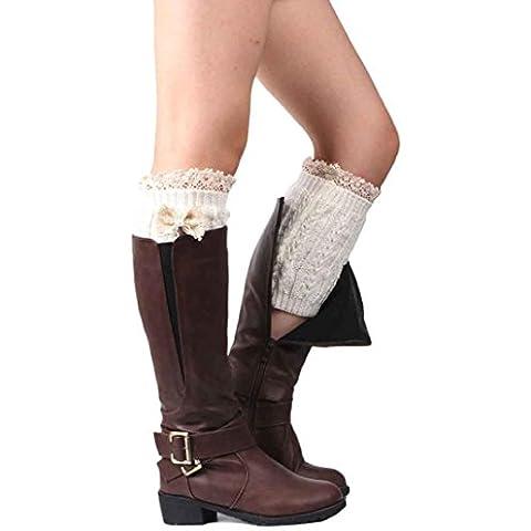 Clode® 1 par mujeres Bowknot encaje Crochet punto media pierna cubierta de felpa botón ajuste calcetines calentador de la pierna (Blanco)