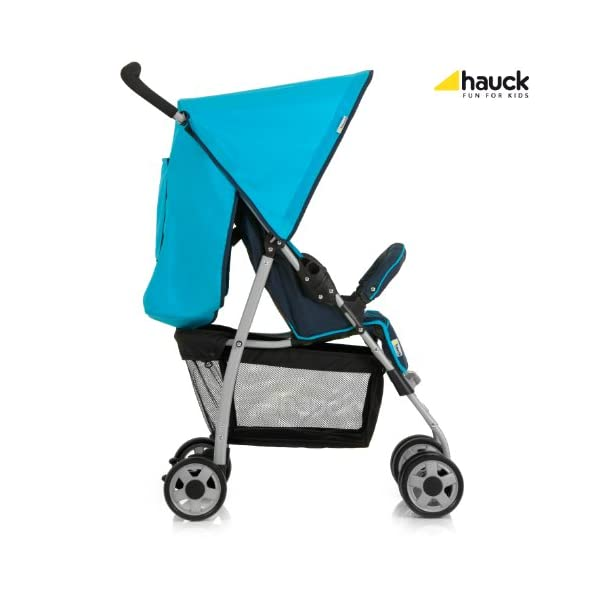 Hauck Sport, Pushchair from Birth to 15 kg with Lying Position, Easy and Compact Folding Sport Stroller, Bumper Bar, Shopping Basket, Moonlight/Capri Hauck Lightweight - This puschair is very light and agile with 5, 9 kg only, easy to push with one hand, convenient on shopping trips Comfy - Backrest and footrest can be adjusted into lying position, making it suitable for new-borns; hood with UV protection, large shopping basket On travels - Thanks to its easy and compact folding, this pushchair will accompany you simply everywhere, no matter whether on holiday or to grandma's and grandpa's 3
