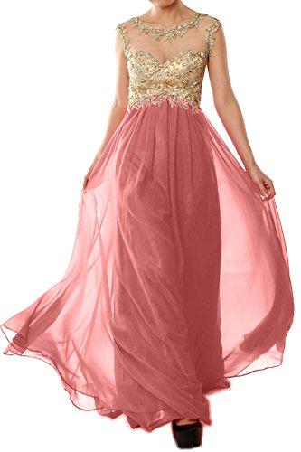 MACloth Women Cap Sleeve Gold Lace Chiffon Long Prom Dress Evening Formal Gown Blush Pink